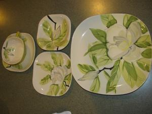 Description\  green yellow gray flower with leaves plates are square in shape. All in excellent condition..no chips or cracks. & Magnolia Dinnerware: cup saucer plates sauce dish | Red Wing ...